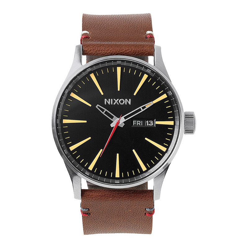14b3fe6a7 Nixon Sentry Leather Watch - Black / Brown | Moment Surf Co