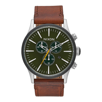 Nixon Sentry Chrono Leather Watch - Surplus / Brown