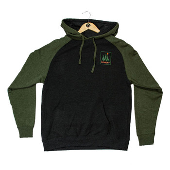 Moment Trees And Waves Pullover Hoodie - Charcoal / Army