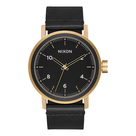 Nixon Stark Leather Watch - All Black / Gold