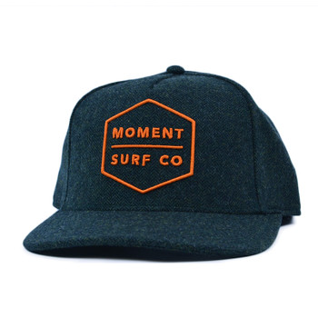 Moment Boxed Logo Flat Bill Hat - Forest / Orange