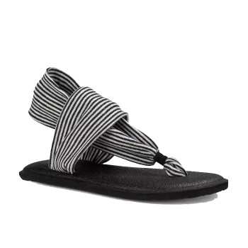 Sanuk Yoga Sling Girls Youth Sandal - Black / White Stripes
