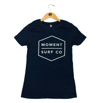 Moment Boxed Logo Tee - Midnight Navy