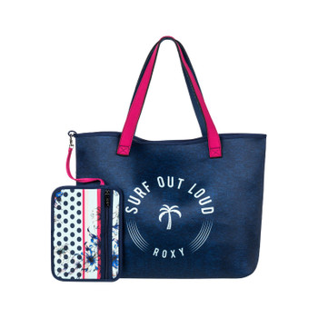 Roxy Inside The Rock Reversible Neoprene Beach Bag - Blue Light Rain Daze Small