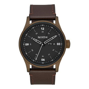 Nixon Sentry Leather Watch - Bronze Cerakote / Brown