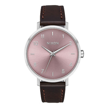 Nixon Arrow Leather Watch - Silver / Pale Lavender