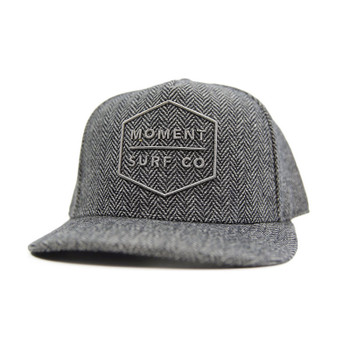 Moment Boxed Logo Hat - Black Herringbone