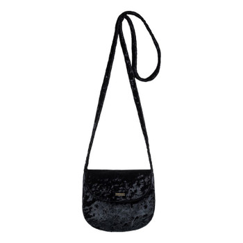 Roxy Like a Love Song Small Velvet Shoulder Bag - True Black