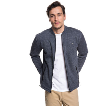 Quiksilver Kurow Sherpa Bonded Zip Bomber Sweatshirt - Blue Nights Heather
