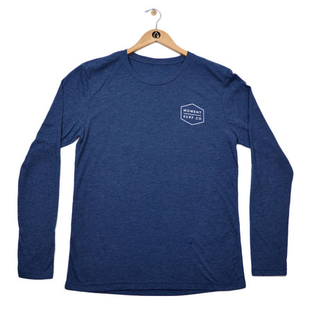 Moment Boxed Logo Long Sleeve Tee - Indigo