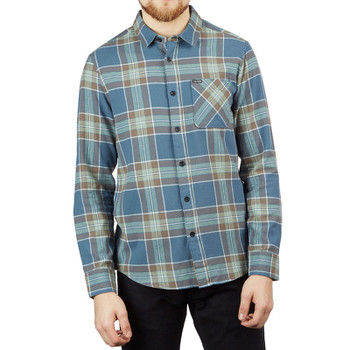 Volcom Caden Plaid Long Sleeve Flannel - Indigo