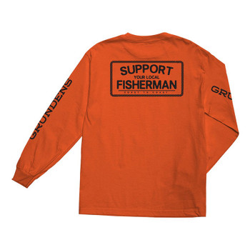 Dark Seas X Grundens Support Stock L/S Tee - Orange