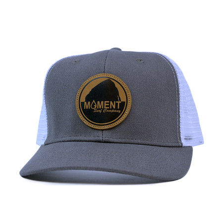 Moment Bright Leather Patch Rock Hat Curved Bill - Charcoal / White