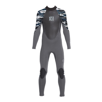 Xcel Youth Axis Back Zip 4/3 Wetsuit -Jet Black / Snow Camo
