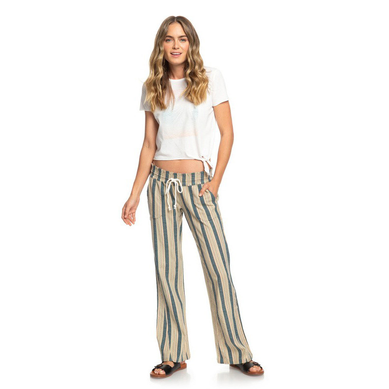 55632882fabab3 Roxy Oceanside Flared Beach Pant - Ivory Cream Carpenter Stripe | Moment  Surf Company