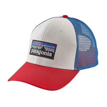Patagonia P-6 Logo Trucker Hat - White W/Fire / Andes Blue