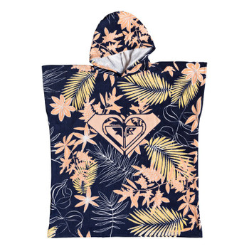 Roxy Girls Pass This On Again Surf Poncho - Med Blue Full Floral