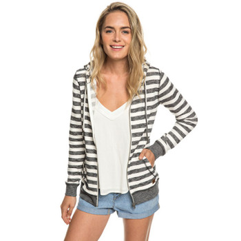 Roxy Trippin Zip Up Hoodie - Black 2x2 Stripe