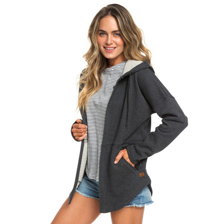 Roxy Lullaby Lights Longline Snap Front Hoodie - Charcoal Heather