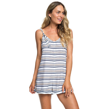Roxy Cutty Heart Strappy Romper - Bright White S Pool Stripes