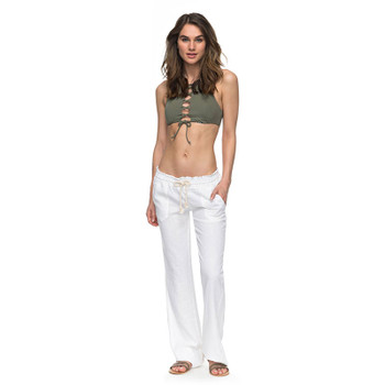 Roxy Oceanside Flared Linen Pants - Sea Salt