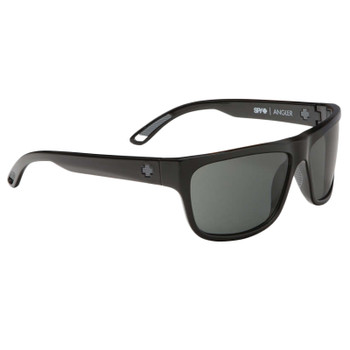 Spy Angler Sunglasses - Black / Happy Grey Green Polarized