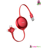 Baseus 3 in 1 USB Retractable Cable Red