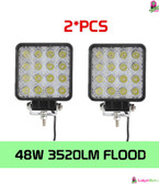 48W Flood LED Offroad Work Light Lamp 2PCS