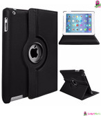 Rotating Stand PU Leather Case Cover Black