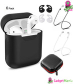 6 Pcs/Set Protective Cover for AirPods Black