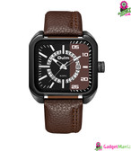 Oulm Men Unique Casual Watch-Coffee Color