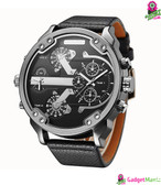 Oulm Men Business Quartz Leather Watch Black