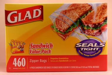 Glad Sandwich Packs Zipper Bags, 4 Packs 115 Each (460 Total)