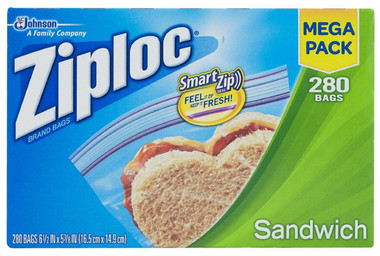 Smart Zip Ziploc Sandwich Bag Value Mega Pack 280 bags