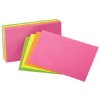 "With these neon index cards, keeping your notes organized just got easier. These lined index cards make color coding and organizing easy at your home, school or business. These neon index cards also come in a practical 3"" x 5"" size; they have crisp lines on one side and are blank on the other. All 100 of these lined index cards are made of 10 percent recycled fiber and 10 percent post consumer fiber that makes them a smart and eco-friendly choice."