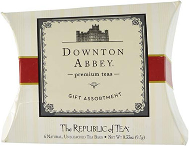 Downtown Abbey Premium Teas Gift Assortment Pillow Box, 6 Assorted Flavor Unbleached Tea Bags, .33 oz