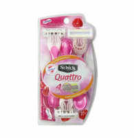 Schick Quattro For Women Skintimate Raspberry Rain Scented Handles Razor, 3 ct