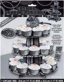 Cardboard Cupcake Stand Glitz Black with Stickers