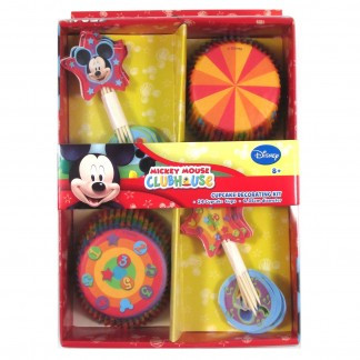 Mickey Mouse cupcake decorating combo pack.  Pack contains 24 paper baking cups and 24 cupcake picks.  This decorating kit comes with two designs of cupcake wrappers and assorted Mickey Mouse themed cupcake picks.  Simply make and ice some cupcakes in the baking cups then stick in the picks and you have some great party desserts.