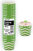 CHEVRON LIME GREEN 25ct PAPER BAKING CUPS