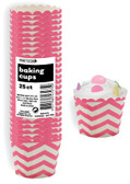 CHEVRON HOT PINK 25ct PAPER BAKING CUPS