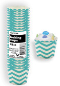 CHEVRON CARIBBEAN TEAL 25ct PAPER BAKING CUPS