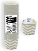 CHEVRON SILVER 25ct PAPER BAKING CUPS
