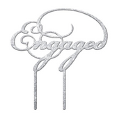 Engaged Acrylic Cake Topper - Silver Glitter