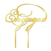 Engaged Acrylic Cake Topper - Gold MIRROR