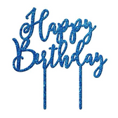 Happy Birthday Acrylic Cake Topper - Blue Glitter