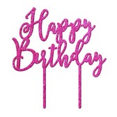 Happy Birthday Acrylic Cake Topper - Pink Glitter