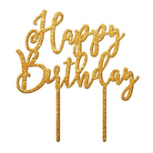 Happy Birthday Acrylic Cake Topper - Gold Mirror
