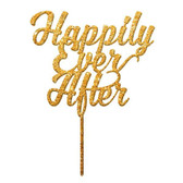 Happily Ever After Acrylic Cake Topper - Gold Glitter