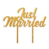 Just Married Acrylic Cake Topper - Gold Glitter